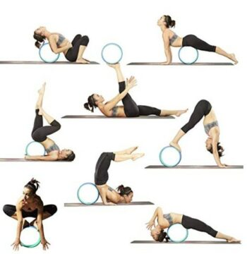 Multiple Images Of A Yoga Wheel