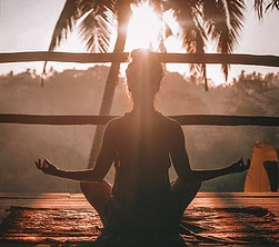 Meditating in the sunset