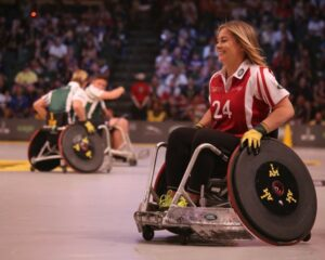 A lady participating in a wheelchair sport